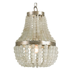 Currey and Company - Chanteuse Chandelier, Petit - Full of chic, contemporary elegance, this chandelier is the radiant revamp you've been looking for. Hanging from gold-finished wrought iron rings, two tiers of glass-bead strings beautifully diffuse light to give your space a warm, romantic glow.