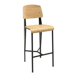 Cabin Counter Stool - Submerge your land-bound activities into a cascading piece fit for your transitional seating needs. The Cabin modern counter stool combines a molded bentwood back and waterfall seat, with a fluid form that imbues both an airy and streamlined feel. Cabin's powder coated metal frame is solidly constructed to service your needs time and again from light refreshments, through extended dialogues.