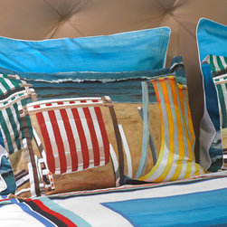 """ARTnBED - Beach Duvet Cover Set - """"Beautiful Day"""" - The sky is blue, the sun is shining, perfect waves and silky sand. What else could we ask for?"""