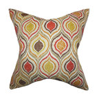 """The Pillow Collection - Xylon Geometric Pillow Orange 18"""" x 18"""" - Give your living space a groovy and vibrant look with this square pillow. This throw pillow features an intricate geometric pattern in shades of orange, yellow, red, brown and neutral. This indoor pillow is perfect for your sofa, bed, or couch. Mix and match this toss pillow with solids and other patterns. Constructed with 100% soft cotton material."""