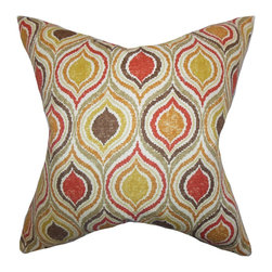 """The Pillow Collection - Xylon Geometric Pillow, Orange, 18"""" x 18"""" - Give your living space a groovy and vibrant look with this square pillow. This throw pillow features an intricate geometric pattern in shades of orange, yellow, red, brown and neutral. This indoor pillow is perfect for your sofa, bed, or couch. Mix and match this toss pillow with solids and other patterns. Constructed with 100% soft cotton material."""