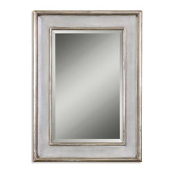 """Uttermost - Uttermost 12640 B  Ogden Antique Light Blue Mirror - This wood frame features a hand rubbed sky blue finish with ivory undertones and lightly antiqued silver leaf details give the appearance of a blue green finish. mirror has a generous 1 1/4"""" bevel. may be hung horizontal or vertical."""