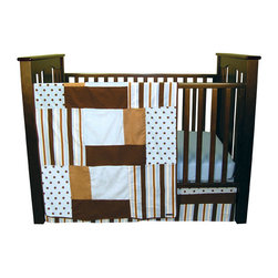 """Trend Lab - Max - 3 Piece Crib Bedding Set - Max 3 Piece Crib Bedding Set by Trend Lab beautifully combines classic polka dots and variegated stripes in a stylish contemporary color palette. Sweet sky blue is mixed with caramel and chocolate brown for a fashionable nursery statement. Delight your little one with this luxurious combination of soft fabrics including a linen blend, cozy cotton, snuggly velour, and luscious ultrasuede. Set includes quilt, crib sheet and skirt. The quilt measures 35"""" x 45"""" and features different sized patches of a sky blue and chocolate polka dot print and stripe print in sky blue, chocolate, caramel and white with sky blue velour, caramel ultrasuede and chocolate linen blend accents. A chocolate linen blend trim adds the finishing touch. Sky blue crib sheet features 10"""" deep pockets and fits a standard 52"""" x 28"""" crib mattress. Elastic around the entire opening ensures a more secure fit. Box pleat skirt with 15"""" drop features strips of the sky blue and chocolate polka dot print along with the stripe print in sky blue, chocolate, caramel and white. A brown linen blend strip separates the two patterns. Matching Max Crib Bumpers sold separately. Complete your nursery with coordinating room accessories from the Max collection by Trend Lab."""