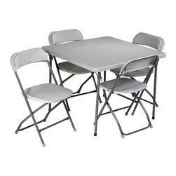 Office Star - 5 Pc Folding Set w Square Half Table - No room for your poker game or additional guests?  Accommodate all your seating needs with this 5 piece folding table and chair set!  This item features a square half table and four chairs for added convenience. * Resin construction. Metal Frame. Table: 36L x 36 in. D x 29 in. H. 36L x 36 in. D x 29 in. H