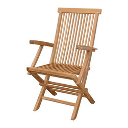 Anderson Teak - Unfinished Classic Medium Slat Back Folding Armchair - Set of 2 - Have a cup of pomegranate-ginger tea and take in a sci-fi thriller in your Solid Wood Folding Arm Chair - Teak, a lovely piece demonstrative of genuine craftsmanship, alluring design and a firm grasp that even the most unassuming of pleasures should be accentuated with unparalleled luxury and style.  Elevate your outdoor enjoyment with this attractive and handy lawn chair that folds for space-saving storage and easy carrying options.  Its solid teak construction is lightweight yet durable, offering comfort for many years to come.  Foldaway wooden selection easily moves from anywhere outdoors.  Position this anywhere in your place. * Set of 2. Foldable. Slat back and seat design. With arms. Made from the finest solid Teak. No assembly required. Overall: 22 in. W x 21 in. D x 39 in. H (16 lbs.). Seat height: 16 in. Our folding armchair is a very sturdy, very versatile side chair, which is the perfect complement to our table. This chair is claimed to be the most convertibles chair of our product. Made from the finest solid Teak, which is strong and durable; yet light enough to allow for easy storage. This is a beautiful and functional piece of furniture for your patio or terrace. This simple, lovely chair offers pleasure and comfort with each use.