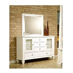 Coaster - Sandy Beach Dresser w Mirror - Contemporary style. Dresser with clean lines and simple molding. Two distinctive transparent doors. Eleven drawers. Fully extending dovetail drawer construction for durability. Square tapered feet. Simple silver tone knobs. Mirror with smooth and simple frame. 1.38 in. frame thickness. Made from tropical hardwoods and veneers. White finish. Mirror: 33 in. W x 40 in. H. Dresser: 61 in. W x 18 in. D x 40 in. H. WarrantyThe Sandy Beach dresser with mirror will infuse your master bedroom decor with clean lines and a classic style.