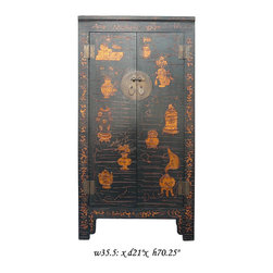 Vintage Chinese 3-D Golden Painting Dresser Cabinet - This cabinet has a matte golden color tone painting of vases on the doors. The painting is painted with thick ink, so there is 3-D texture. The combination of matte gold and black makes the cabinet have the oriental accent without overwhelming. It is a unique dresser for the bedroom with its decent design or a storage cabinet in the office or living room.