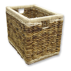 "Tradewinds - Hand Made Woven Storage Basket - The handmade woven storage basket makes adorable cottage style furniture for your kids"" room to organize their stuffs like toys, books, stuffed animals and a lot more. This coastal cottage furniture piece goes well with any type of room""s interior and is durable as this handmade basket is tightly woven."