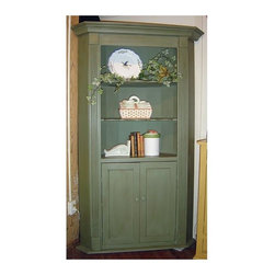 British Traditions - Barrel-Back Corner Cupboard w 2 Fixed Shelves in Open Top (Antique Blue) - Finish: Antique Blue. Each finish is hand painted and actual finish color may differ from those show for this product. Barrel-back corner cupboard. 2 Fixed shelves in open top. 1 Fixed shelf in lower cabinet. Minimal assembly required. Wall space: 35.5 in. on either side. Top shelf size: 27.5 in. W x 17 in. D x 12 in. H. Center and bottom: 27.5 in. W x 17 in. D x 13 in. H. 50.5 in. W x 24 in. D x 81 in. H (164 lbs.)A beautifully restrained and detailed piece, the Barrel-Back Corner Cupboard is distinguished by angled crown moulding, plinth blocks atop fluted side moulding, scalloped shelves and its uncommon barrel back. It is an excellent display piece for either residential or commercial settings.