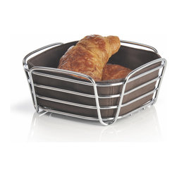 Blomus - Delara Bread Basket, Mocha, Large - The Blomus Delara Bread Basket is made with chrome-plated steel and cotton fabric insert.