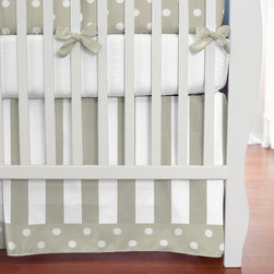 Taupe and White Dots and Stripes Crib Skirt - Taupe Stripe crib skirt, with 4-inch trim in Taupe and White Polka Dot.