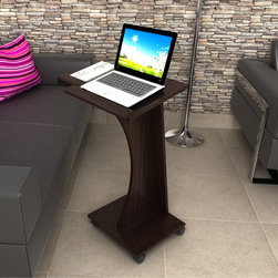 Inval America LLC - Inval Rolling Laptop Cart - Surf the net in comfort with this stylish rolling laptop cart. Perfect for a dorm room or living room, this scratch-resistant cart is compatible for a left or right mouse-user with ample work space and four locking casters for easy mobility.