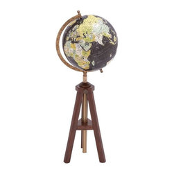 BZBZ24864 - Wood Metal Globe with Meridian and Brass Plating - Wood Metal Globe with Meridian and Brass Plating. The perfect choice for the aspiring cartographer or the travel junkie, this exquisitely crafted globe is a beautiful masterpiece of wood and metal. The dimensions of the wood metal globe are 8 x 4 x 22.