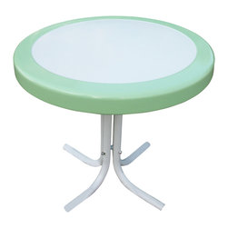 4D Concepts - 4D Concepts Metal Retro Round Table in Lime & White Metal - What a beautifully crafted retro table.  This end table is perfect for any room of the house.  This unit can be moved wherever you need an additional table.   The metal table top is trimmed in a vibrant shade of vintage lime green.  The rich powder coated white and lime green trim give it a distinct look.  The beautifully tapered legs flair out at the bottom to give the table a unique and durable look.  Constructed of metal .  Clean with a dry non abrasive cloth.  Assembly required.
