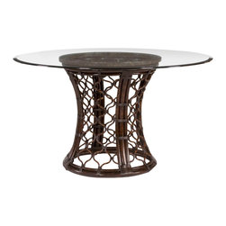 Hammary - Hammary Boracay Round Glass Dining Table with Rattan Pedestal - The Boracay round dining table by Hammary is inspired by island lifestyle. The rattan table base is has a dark brown stain which creates a rich, exotic feel. A snakestone rim top supports the beveled glass surface and adds visual intrigue to the table.