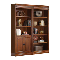 Golden Oak - Augusta 2 Pc Wall Bookcase in Brown Cherry Fi - Includes 2 bookcases. Adjustable shelves. Finished shelf facing. Crown molding enables side by side positioning. Storage space for books. Ideal for living room or bedroom. Bookcase:. Open: 33 in. W x 15 in. D x 79 in. H (108 lbs.). With door: 33 in. W x 15 in. D x 79 in. H (123 lbs.)