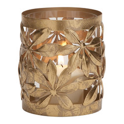 Customary Styled Metal Glass Candle Lantern - Description: