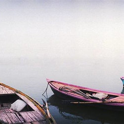 Walls 360, Inc. - Colorful Row Boats in a Ganges River Panoramic Fabric Wall Mural - Transform your empty walls with Walls 360's premium, repositionable wall graphics.