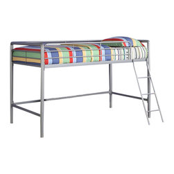 Ameriwood - DHP Junior Metal Loft Bunk Bed in Silver - Ameriwood - Bunk Beds - 5458096 - The Junior Metal Loft Bed by DHP is perfect for any child in your house. Fitting for smaller rooms the space-saving metal frame design of this loft bed is durable and solid through years of use.