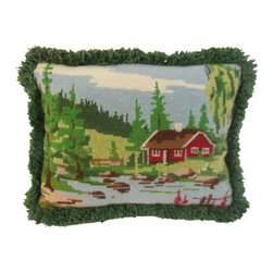 "www.pillowtalkdirect.com - 11"" x 15"" Charming Valley Scene - 11"" x 15"" Charming valley scene, vintage fringe, dark green back."