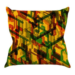 """Kess InHouse - Roberlan """"Three Dee"""" Yellow Red Throw Pillow (26"""" x 26"""") - Rest among the art you love. Transform your hang out room into a hip gallery, that's also comfortable. With this pillow you can create an environment that reflects your unique style. It's amazing what a throw pillow can do to complete a room. (Kess InHouse is not responsible for pillow fighting that may occur as the result of creative stimulation)."""