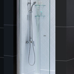 Dreamline - Butterfly Frameless Bi-Fold Shower Door, Shower Base & QWALL-5 Backwalls Kit - This smart kit from DreamLine offers the perfect solution for a small bathroom renovation with a BUTTERFLY bi-fold shower door, universal shower backwall panels and a coordinating SlimLine shower base. The panels of the BUTTERFLY shower door fold to one side to create an ample walk-through while saving space. The SlimLine shower base incorporates a low profile design for a sleek modern look, while the shower backwall panels have a tile pattern. Choose a beautiful and efficient DreamLine shower kit to completely transform a shower space.