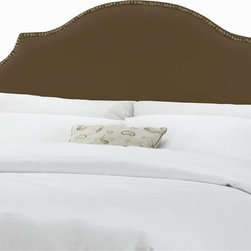 Skyline Furniture - Notched Nail Button Headboard w Foam Padding - Choose Size: Full/QueenAdjustable legs. Plush foam padding. Attaches to standard bed frames. Made from 57% cotton and 43% rayon. Made in the USA. Headboard in shantung chocolate color. Minimal assembly required. Twin: 41 in. L x 4 in. W x 54 in. H (24 lbs.). Queen: 63 in. L x 4 in. W x 54 in. H (30 lbs.). King: 78 in. L x 4 in. W x 54 in. H (41 lbs.). California king: 74 in. L x 4 in. W x 54 in. H (36 lbs.)Silk notched nail button headboard
