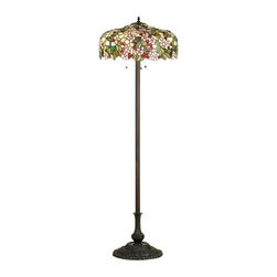 Meyda Tiffany - Meyda Tiffany Cherry Blossom Tiffany Floor Lamp X-66466 - The elegance of a cherry blossom is truly defined in this Meyda Tiffany floor lamp. Thanks to its beautiful natural hues, including cherry red, soft pastel pink and vibrant green, this Tiffany floor lamp adds just the right amount of elegance to any home. From the Cherry Blossom Collection, it comes finished in a traditional hand finished Mahogany Bronze.
