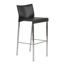 Eurostyle - Eurostyle Riley-B Leather Bar Chair w/ Chromed Steel Base in Black [Set of 2] - Leather Bar Chair w/ Chromed Steel Base in Black belongs to Riley Collection by Eurostyle The Riley-B Bar Stool is chic and oh so stylish! The perfect addition to any bar or high table, the Riley-B Bar Stool provides a comfortable seat and a great modern look. This modern bar stool features a seat and back covered completely in leather availale in your choice of color, each of which is perfectly complemented by a chromed footrest. The Riley-B Bar Stool offers exceptional style and quality, and is suitable for commercial use. Bar Chair (2)
