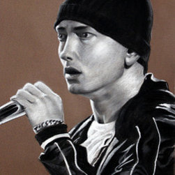 """Eminem - Marshall Mathers - Slim Shady - Portrait"" (Original) By Prashant Shah - I Love His Music And Decided To Do A Portrait.  The ""Tobacco"" Colored Canson Paper Is Perfect For Gray Scale Work.  Variety Of Pastels And Charcoal Were Used To Make This Realistic Portrait Of One Of The Best Rappers Of All Time."