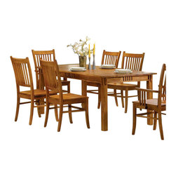 Coaster - Coaster Meadowbrook Rectangular Leg Dining Table in Warm Medium Brown - Coaster - Dining Tables - 100621 - The Meadowbrook dining collection features traditional mission style made of solid hardwood in a warm Medium Brown finish. A large rectangular leg table and slat back chairs create the perfect dining set while the buffet/hutch features plenty of storage space with drawers cabinets shelves and a wine rack. Create a rustic mission style in your home with this wonderful dining room set. This dining table has a traditional mission style. It is made of solid hardwood in a warm medium brown finish. A smooth rectangular table top has smooth straight edges with a slat detail on the apron for a touch of distinction. Simple square legs complete the look. Pair with the matching chairs for an inviting mission style dining ensemble.Features: