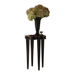 Henry Link - Henry Link Quatrefoil Chairside Accent Table in Gold Tipped Obsidian - Henry Link - End Tables - 014011703 - About This Product: