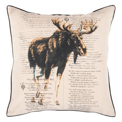 """Surya - Surya HH-119 22"""" x 22"""" Poly Fiber Pillow Kit - A strong moose is displayed in front of text on this pillow. Colors of khaki, coal black, and dark goldenrod accent this decorative pillow. This pillow contains a poly fill and a zipper closure. Add this 22"""" x 22"""" pillow to your collection today."""
