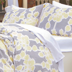 Crane & Canopy - Floral Print Designer Duvet Cover, The Ashbury - With its whimsical soft yellow bouquets and cool urban gray backdrop, this duvet has an understated romantic elegance. Finishing details include edge piping, interior corner ties and zipper enclosures.