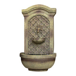 "Serenity Health & Home Decor - Rosette Leaf Outdoor Wall Fountain Florentine Stone - Dimensions: 17""Wide x 10"" Deep x 31""High, 13 lbs"