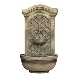 "Sunnydaze Decor - Rosette Leaf Outdoor Wall Fountain Florentine Stone - Dimensions: 17""Wide x 10"" Deep x 31""High, 13 lbs"
