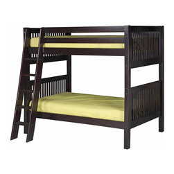 """Camaflexi - Bunk Bed with Mission Headboard and Angle Ladder - Cappuccino Finish - When your family is growing and your space is not, Camaflexi's ultra durable Bunk Bed collection offers the perfect solution. Constructed of solid wood, the upper bunk features front and rear safety guard rails. Both beds include slat roll foundations reinforced with our unique, extra sturdy, center rail support system, which guarantees maximum security and longevity. The extra wide, grooved step angled floor Ladder and safety guard rails are interchangeable so you can position ladder where you need it. All our Bunk Beds are built to meet and/or exceed all government and industry safety standards for your ease of mind and to ensure longevity. The handsome Mission style, with our rich, """"child-safe"""", multi-step, protective cappuccino finish, will complement any bedroom decor. Optional trundle and/or storage drawers add to this bunk's utiliy. Choose between open or closed foot boards with the addition of modesty panels. When needed, the bunk can be separated into two individual twin beds. Flexibility is what we are all about! The Camaflexi system offers the best in sturdy, eco-friendly and healthy furniture for your growing child's needs. Featured in the classy Mission Style to compliment your room decor. Both beds include a slat roll foundation, with our unique extra sturdy center rail support system for added longevity. Constructed of 100%, all natural, solid wood. Shown in our child safe, cappuccino protective finish. Features our unique extra deep grooved steps on ladder for added safety and comfort when climbing. Meets and/or exceeds all ASTM and U.S. Government safety standards for Bunk Beds. Covered by our One Year, Peace of Mind warranty, covering manufacturing related defects. Verifiable sustainable wood source, both Eco and People Friendly. Under bed clearance from bottom of bed rail is 11 1/2"""". Clearance between top and bottom bed is 36"""". Ladder protrudes 15 1/2"""". Takes standa"""