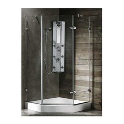 Vigo Industries - Frameless Neo Angle Clear Shower Enclosure with White Base - Both dramatic and space-saving. The Vigo frameless neo-angle shower enclosure creates a beautiful focal point for your bathroom.