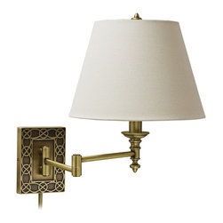 "House Of Troy - Traditional House of Troy Wall Knot Brass Plug-In Swing Arm Wall Lamp - This decorative antique brass wall sconce offers functional style. The plug-in style design features a rectangular back plate with a knot style border and is shaded by a contemporary off-white empire shade. The adjustable arm makes it easy to direct light where you need it while the easy plug-in style makes installation a breeze. The Wall Knot collection is by the House of Troy. Part of the Wall Knot collection. Antique brass finish. Off-white linen hardback shade. Takes one maximum 100 watt or equivalent bulb (included). Socket switch. Includes 10 feet of ivory cord. 30"" cord cover included. Shade is 6 1/2"" across the top 12"" across the bottom 9"" on the slant. Extends 24"". Backplate is 6"" high 4 1/2"" wide.  Part of the Wall Knot collection.  Antique brass finish.  Off-white linen hardback shade.  Takes one maximum 100 watt or equivalent bulb (included).  Socket switch. Includes 10 feet of ivory cord.  30"" cord cover included.   Shade is 6 1/2"" across the top 12"" across the bottom 9"" on the slant.  Extends 24"".   Backplate is 6"" high 4 1/2"" wide."