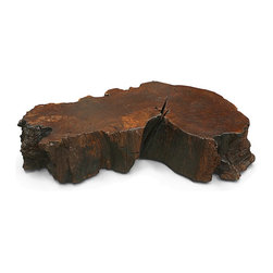 Imbuia Cross Cut Coffee Table - One-of-a-kind organic coffee table made with part of a naturally fallen Brazilian Imbuia tree. It can be used with or without a glass top, and with or without casters.