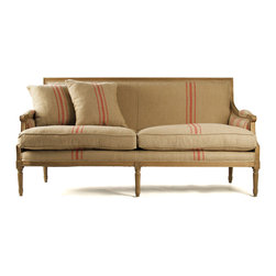 Louis Sofa - Natural Oak with Red Stripe Linen - French neo-Classical style from centuries past painstakingly re-crafted for the transitional and traditional home decor of the current era, the Louis Sofa is geometric and light in its design, creating a visual homage to timeless simplicity of form with just enough carved accent to be elegant. Two pillows are included with this gorgeous traditional seating piece to accent the classic settee in subtle style.