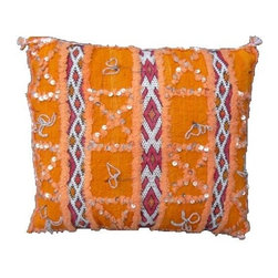 Handmade Moroccan Berber Pillow. - This is a Hand-woven pillow by the Zemmour Tribe in the Middle Atlas Mountains of Morocco, with elaborate diamond pattern, abstract designs and tattoo symbols which are belived to have meditative properties.