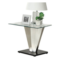 Homelegance - Homelegance Silverstone Square Glass End Table with Brushed Chrome Base - The stylized conical pillar that supports each of Glass topped tables in the Silverstone collection is paying homage to futuristic contemporary design. All pieces in this modern occasional group rise from rectangular black bases. Minimalist without looking fragile, the collection will blend with your contemporary decor.