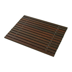 wooden bath mat - rich in color, elegantly strong, and spectacular in person, this german bathmat is made of oiled ash thermowood, a wood treated with a thermal process that renders it moisture, mold, and mildew resistant.