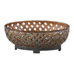 Uttermost - Uttermost Teneh Bowl - Uttermost Teneh Bowl is a Part of Carolyn Kinder Collection by Uttermost This decorative bowl features a lattice weave design and has a copper bronze finish with a verdigris glaze and black crackled base. Art Object (1)
