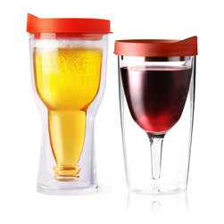 Adnart - Vino2Go & Beer2Go Set - Red - Double wall insulated wine tumbler with double wall insudated acrylic beer tumbler his and hers set