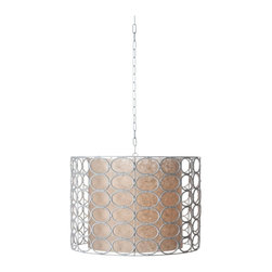 Lazy Susan - Lazy Susan LZS-466006 White Drum Oval Ring Lamp - Think of decorative lighting as architectural jewelry. It can dress up or dress down your room. For an informal room this light, airy, natural wicker pendant lamp would set the right mood.