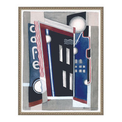 Cafe, Small, Framed - This print is of a painting by Leo Rackow of an art deco Cafe and was originally created in 1934 while the artist spent time studying with Fernand Leger in Paris.