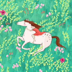"""Sarah Jane - Bareback Riding, 16x20"""" - This fine art print is created from a hand drawn & watercolored illustration signed by Sarah Jane Created from her Wee Wander Fabric collection. Each illustration is printed with a giclée fine art printing process on archival museum quality paper. Watermark not included in the final product."""