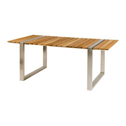 "Boca Rectangular Dining Table - By Kingsley Bate - The BOCA collection designed by Cristian Wicha is a modern take on picnic style dining. The 76"" rectangular table and backless bench are constructed using wide planks of teak and high grade #304 stainless steel. The table and bench may be used as independent pieces or in combination with any of our stainless steel dining chairs."